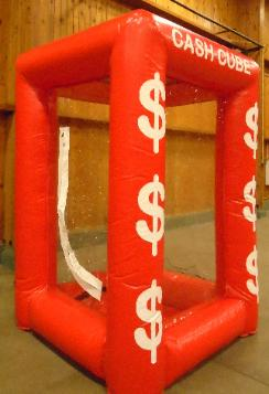 Cash Cube Red Inflatable Money Machine Rental in MI, OH, IN