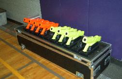 Laser Tag Guns, Phasers, in Rack System, Laser Star is the Manufacturer
